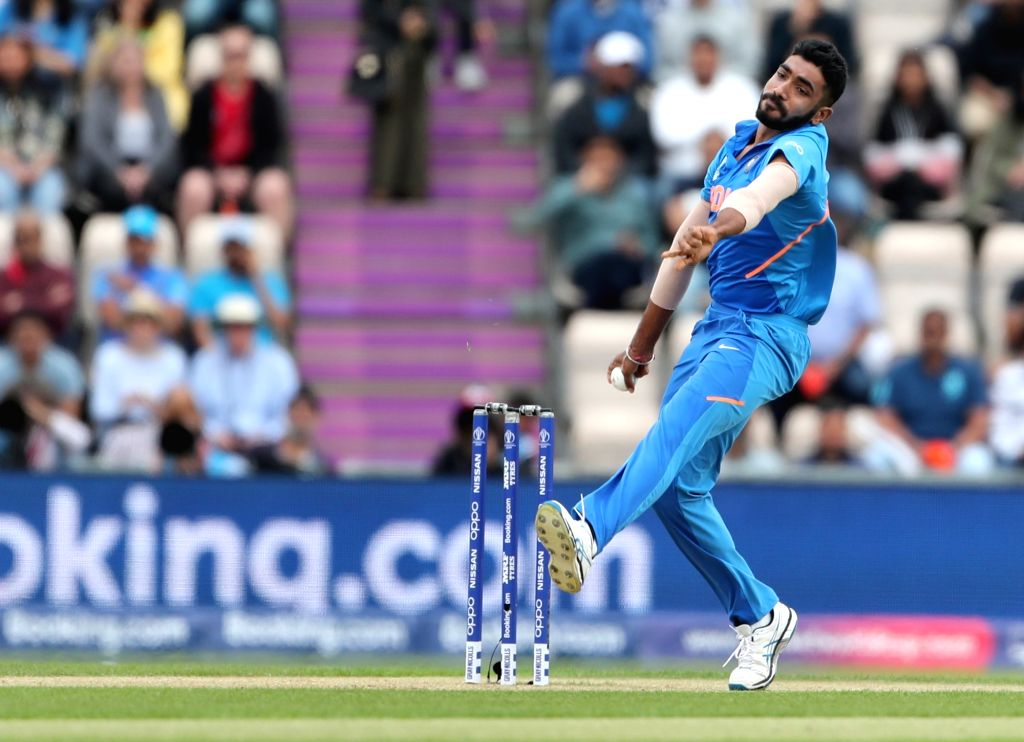 India's Jasprit Bumrah in action during the 8th match of 2019 World Cup between India and South Africa at The Rose Bowl in Southampton, England on June 5, 2019.