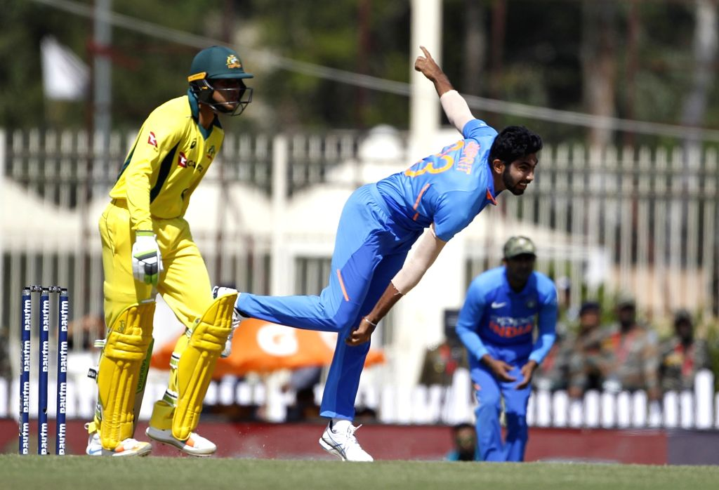 India's Jasprit Bumrah in action during the third ODI match between India and Australia at JSCA International Stadium Complex in Ranchi on March 8, 2019.