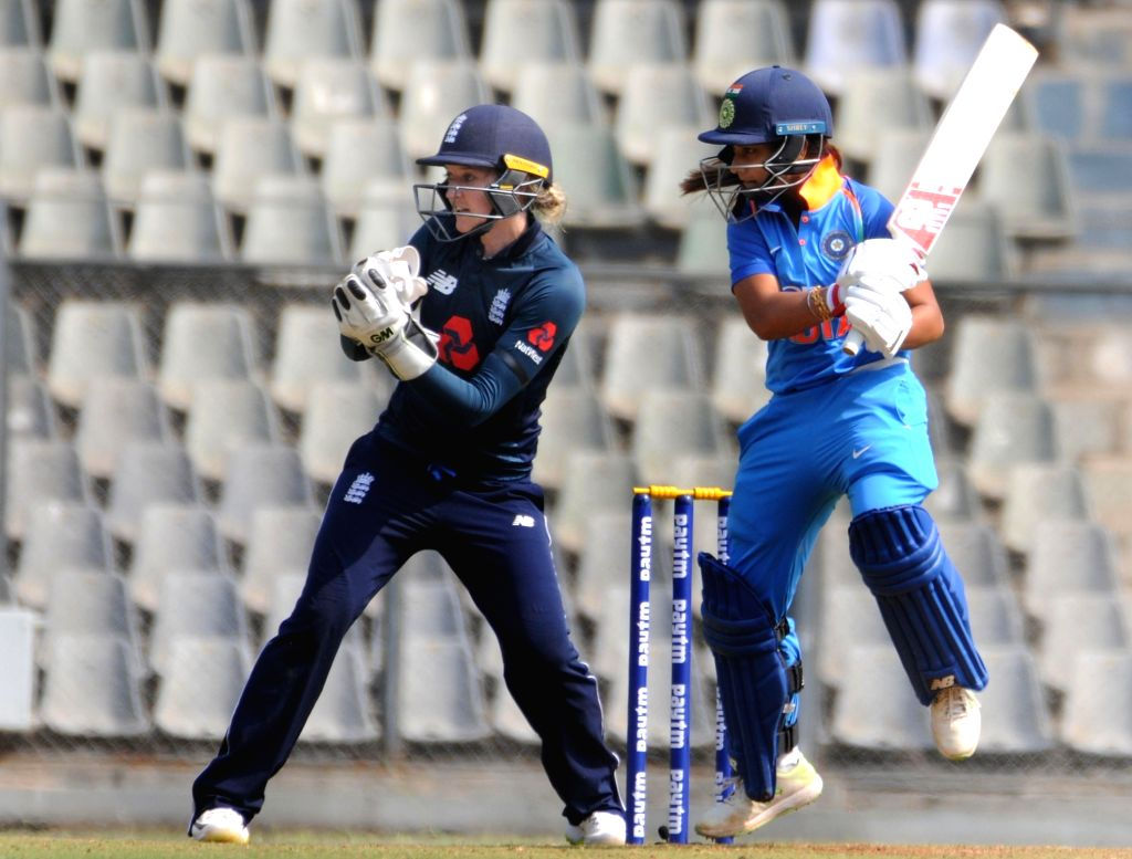 India's Jemimah Rodrigues in action during the 1st ODI match of ICC Women's Championship between India and England at Wankhede Stadium in Mumbai, on Feb 22, 2019.