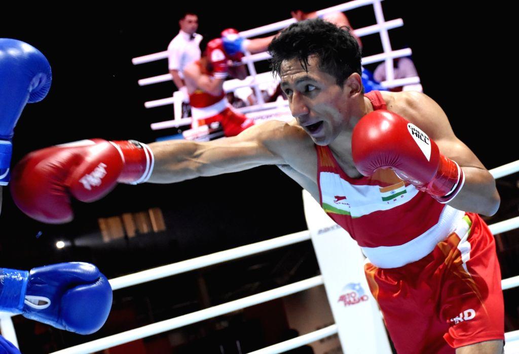 India's Kavinder Singh Bisht in action during the AIBA Men's World Championships Round 2 match in Ekaterinburg, Russia on Sep 15, 2019. - Kavinder Singh Bisht