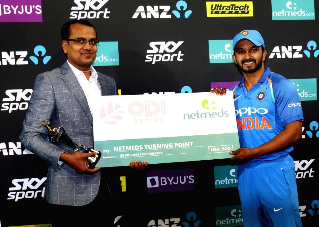 India's Kedar Jadhav being felicitated during a post match felicitation ceremony at Westpac Stadium in Wellington, New Zealand on Feb 3, 2019.  India notched-up a 35-run victory against ...