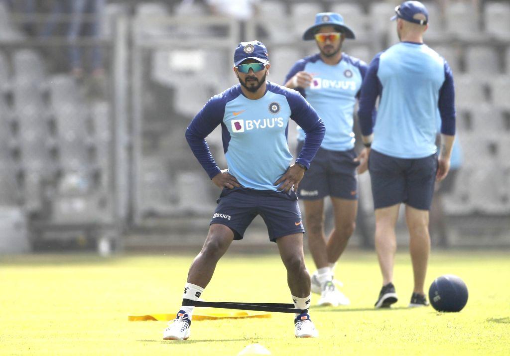 India's Kedar Jadhav during a practice session ahead of their first ODI match against Australia in Mumbai on Jan 12, 2020.