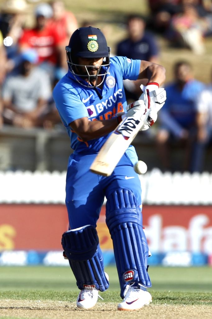 India's Kedar Jadhav in action during the 1st ODI of the three-match series between India and New Zealand at the Seddon Park in Hamilton, New Zealand on Feb 5, 2020.