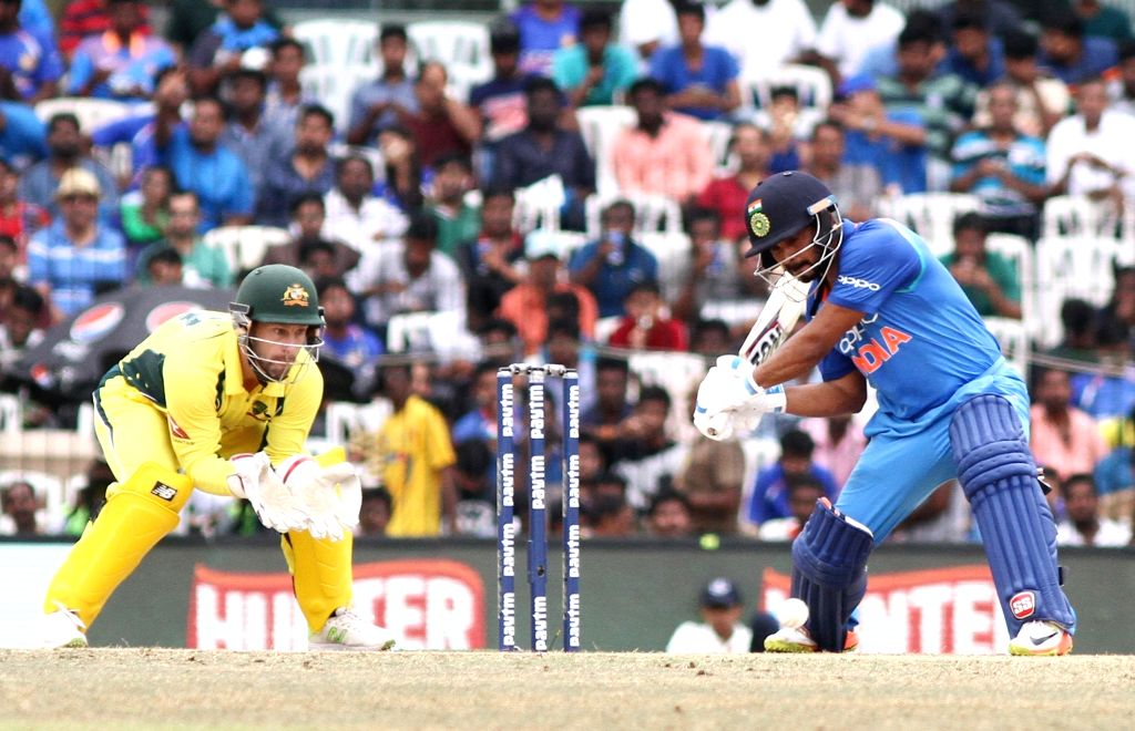 India's Kedar Jadhav in action during the first ODI cricket match between India and Australia at MA Chidambaram Stadium in Chennai on Sept 17, 2017.