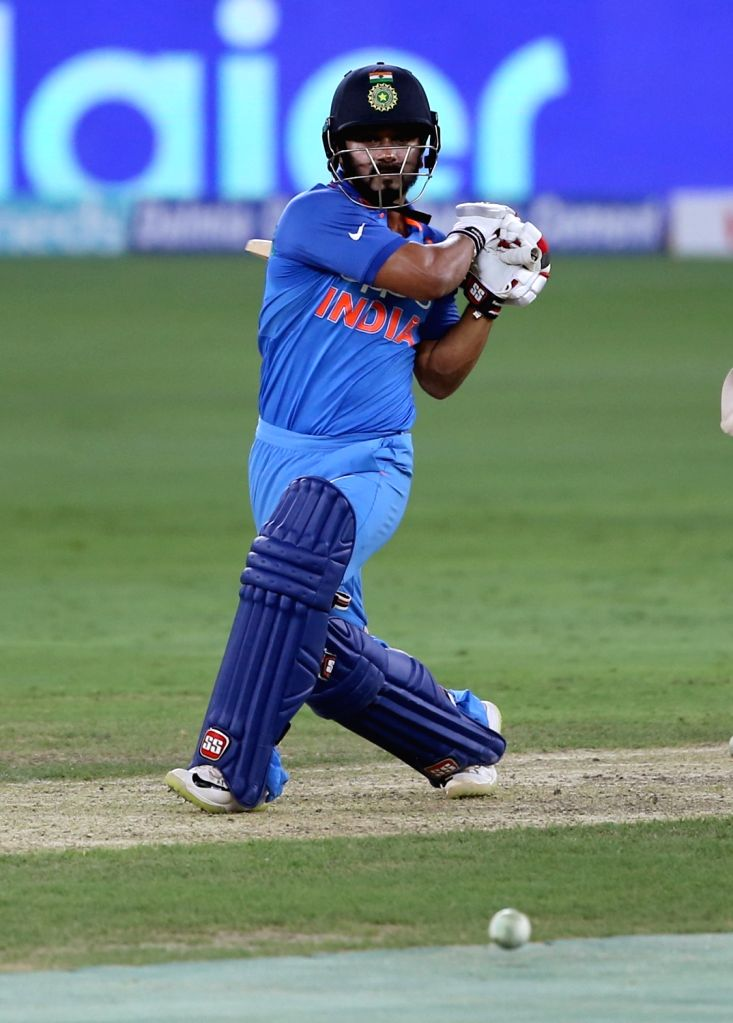 India's Kedar Jadhav in action during the fourth match (Group A) of Asia Cup 2018 between Hong Kong and India at Dubai International Cricket Stadium on Sept 18, 2018.