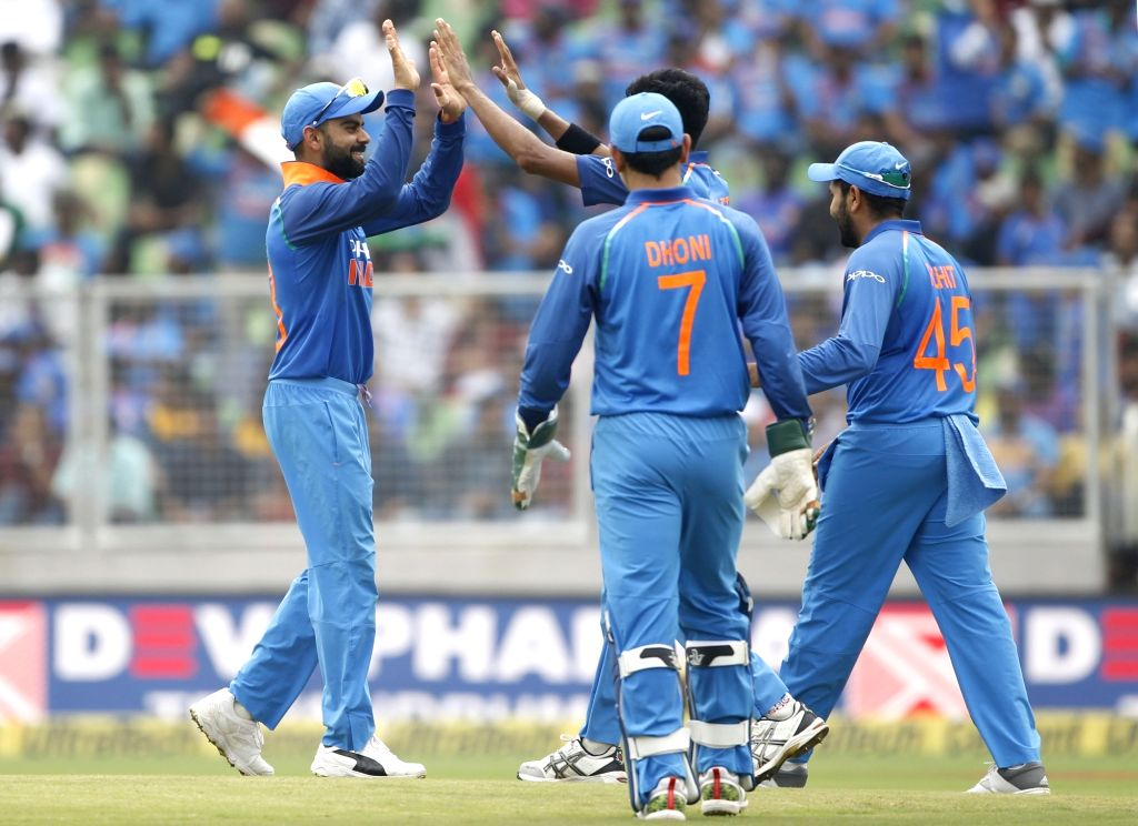 India's Khaleel Ahmed celebrates fall of a wicket during the fifth and final ODI match between India and West Indies in Thiruvananthapuram, on Nov. 1, 2018.