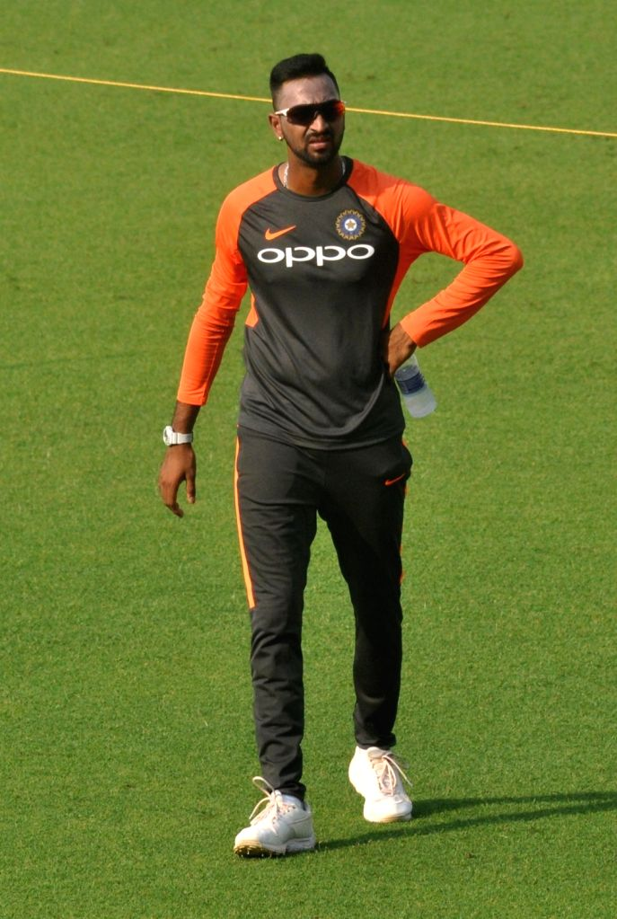 India's Krunal Pandya during a practice session ahead of the first T20 match against West Indies at the Eden Gardens in Kolkata, on Nov 3, 2018.