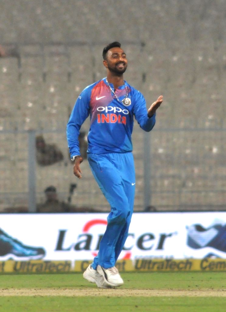 India's Krunal Pandya during the first T20 International match between Indian and West Indies at the Eden Gardens in Kolkata, on Nov 4, 2018.