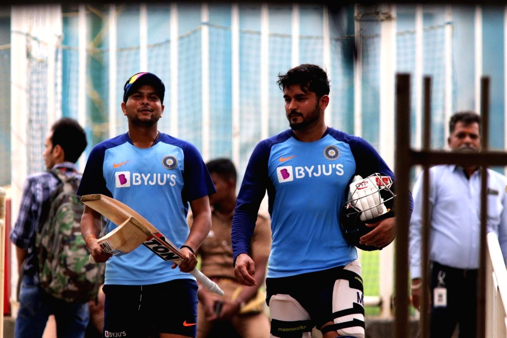India's Kuldeep Yadav and Manish Pandey during a practice session ahead of the 1st one-day international (ODI) match against West Indies, at MA Chidambaram Stadium in Chennai on Dec 13, 2019. - Kuldeep Yadav and Manish Pandey