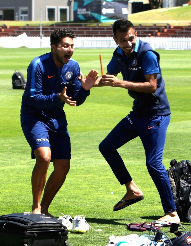 India's Kuldeep Yadav and Yuzvendra Chahal during a practice session at Basin Reserve cricket stadium in Wellington, New Zealand on Feb. 5, 2019. (Photo: Surjeet Yadav/IANS) - Kuldeep Yadav and Surjeet Yadav