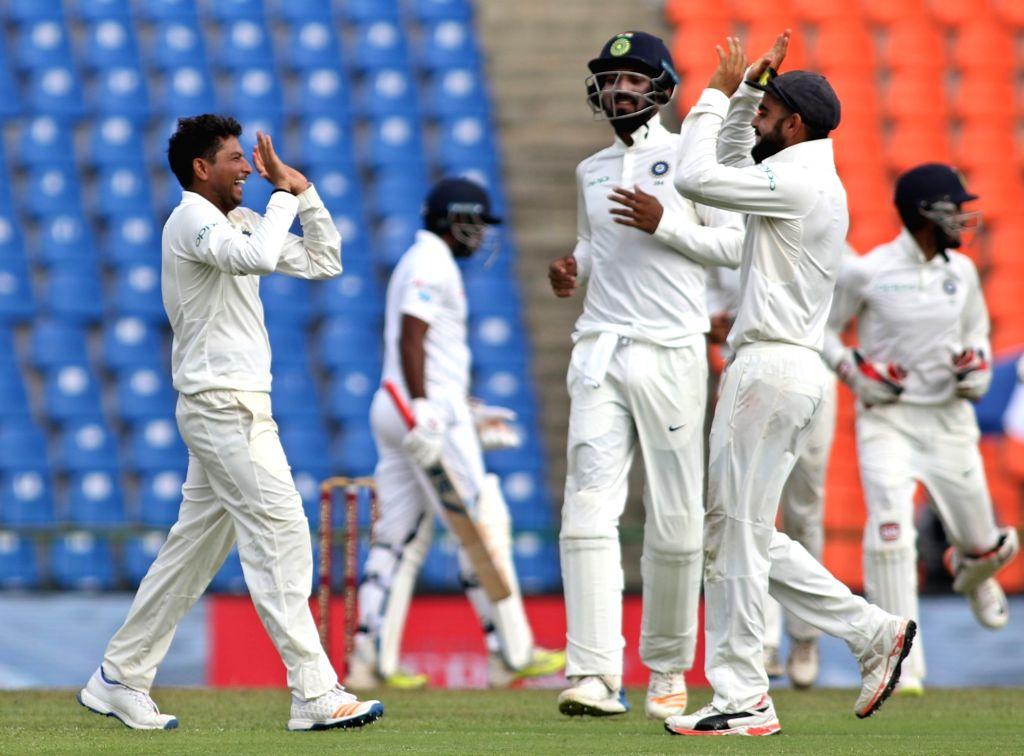 India's Kuldeep Yadav celebrates fall of Dilruwan Perera's wicket on Day 2 of the third test match between India and Sri Lanka at Pallekele International Cricket Stadium in Pallekele, Sri ... - Kuldeep Yadav
