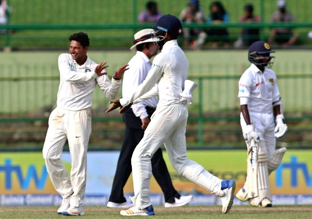 India's Kuldeep Yadav celebrates fall of Vishwa Fernando's wicket on Day 2 of the third test match between India and Sri Lanka at Pallekele International Cricket Stadium in Pallekele, Sri ... - Kuldeep Yadav