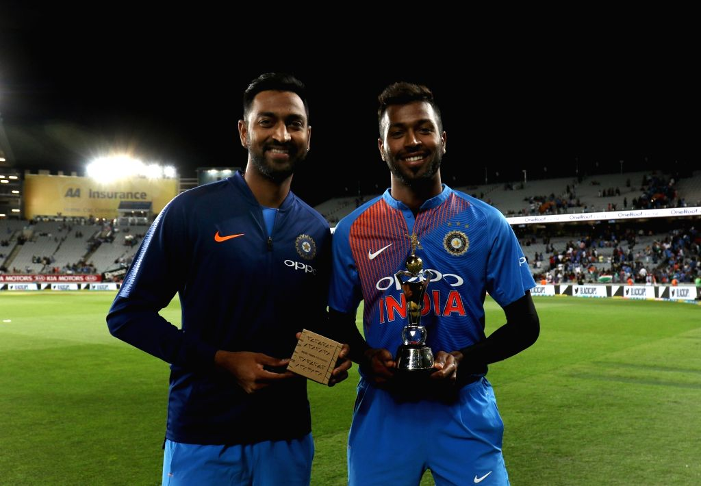 India's Kunal Pandya and Hardik Pandya with their tropjies during the second T20I match between India and New Zealand at Eden Park in Auckland, New Zealand on Feb 8, 2019.