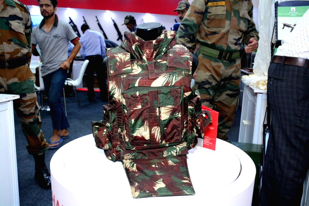 India???s Lightest Bullet Proof Jacket 'Bhabha Kavach' was launched by Ordnance Factory Board at the International Police Expo 2019, at Pragati Maidan in New Delhi on July 19, 2019. ...
