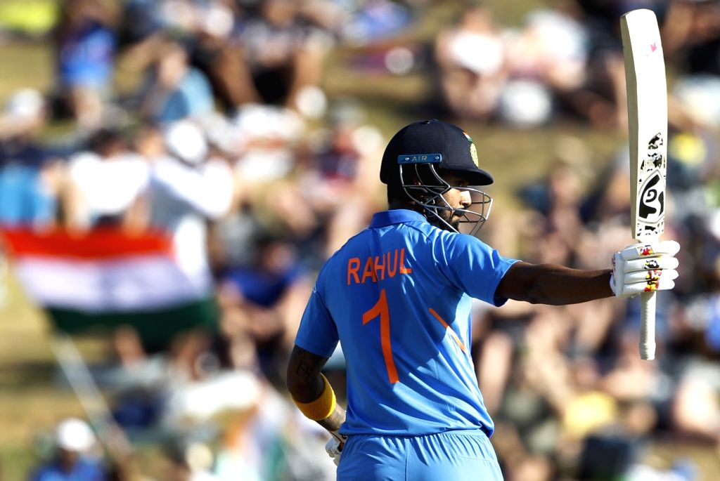 India's Lokesh Rahul celebrates his half century during the 1st ODI of the three-match series between India and New Zealand at the Seddon Park in Hamilton, New Zealand on Feb 5, 2020. - Lokesh Rahul