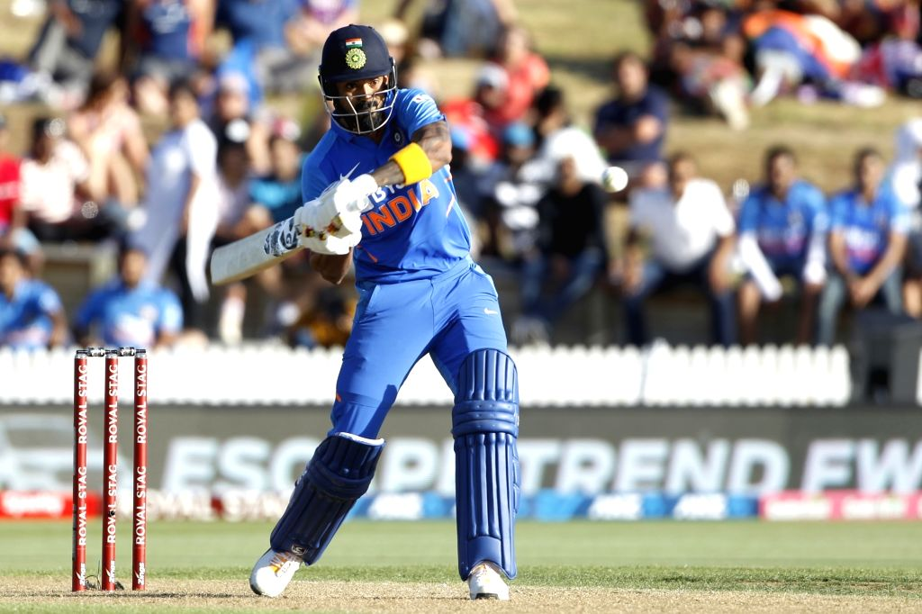 India's Lokesh Rahul in action during the 1st ODI of the three-match series between India and New Zealand at the Seddon Park in Hamilton, New Zealand on Feb 5, 2020. - Lokesh Rahul