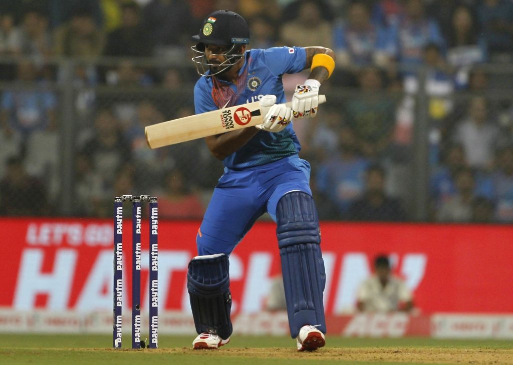 India's Lokesh Rahul in action during the third T20I match between India and West Indies at Wankhede Stadium in Mumbai on Dec 11, 2019. - Lokesh Rahul