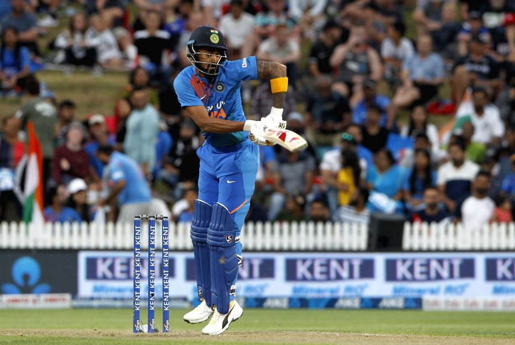 India's Lokesh Rahul in action during the third T20I of the five-match rubber at Seddon Park in Hamilton, New Zealand on Jan 29, 2020. - Lokesh Rahul
