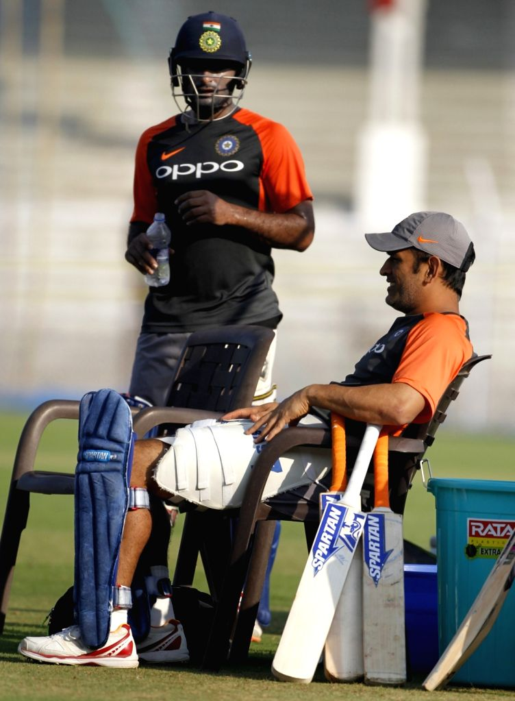 India's M.S. Dhoni and Ambati Rayudu during a practice session ahead of the fourth ODI match against West Indies, at Cricket Club of India in Mumbai, on Oct 28, 2018.