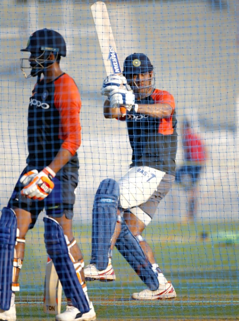India's M.S. Dhoni during a practice session ahead of the fourth ODI match against West Indies, at Cricket Club of India in Mumbai, on Oct 28, 2018.