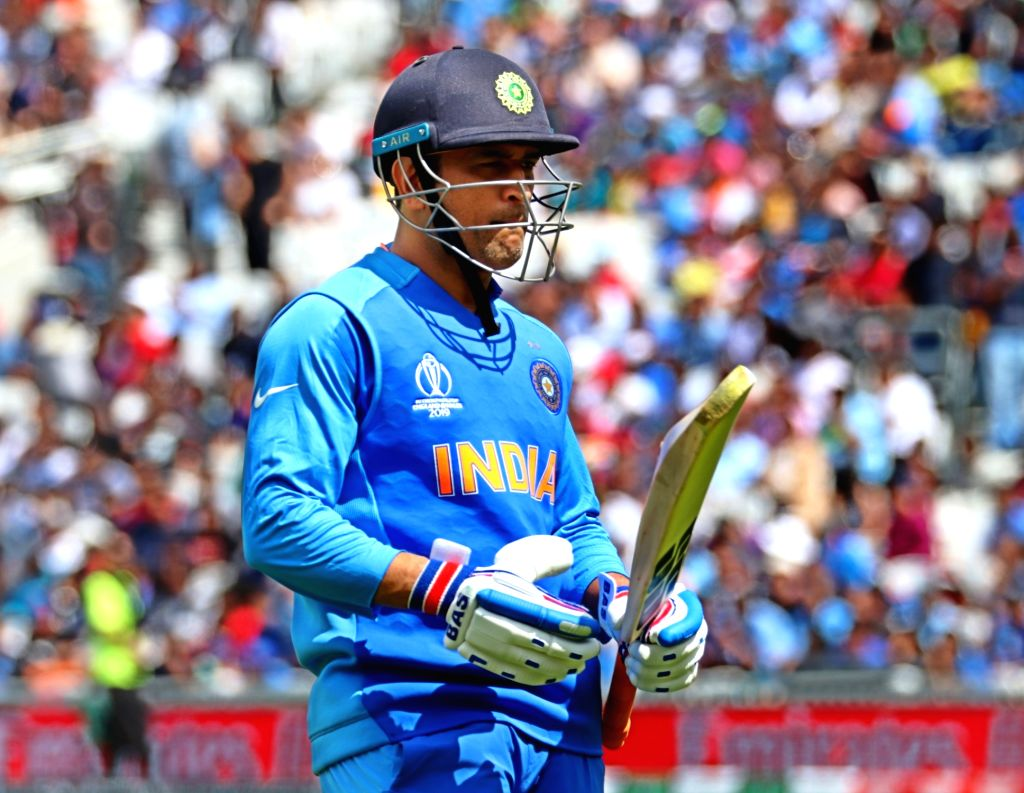India's M. S. Dhoni during the first warm-up match between India and New Zealand at the Kennington Oval,  London on May 25, 2019.
