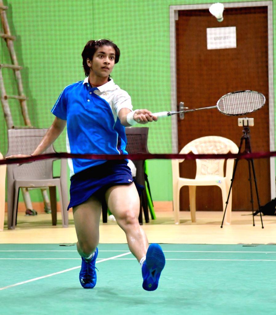 India's Malvika Bansod in action against China???s Tan Ning at the Badminton Asia Junior Championships 2019 in Suzhou, China on July 25, 2019. Malvika lost to to China???s Tan Ning 14-21, ...