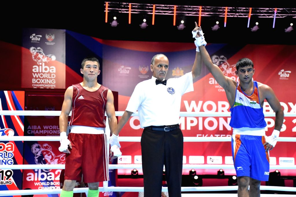 India's Manish Kaushik during the AIBA Men's World Championships Round 1 debut match in Ekaterinburg, Russia on Sep 12, 2019.