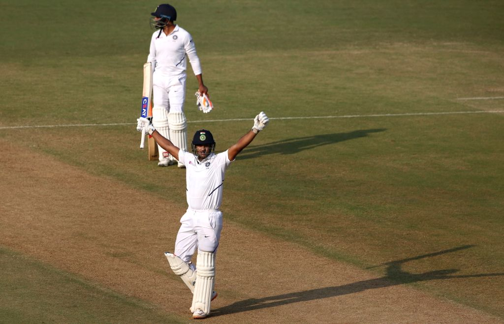 India's Mayank Agarwal celebrates his double century on Day 2 of the 1st Test match between India and Bangladesh at Holkar Cricket Stadium in Indore, Madhya Pradesh on Nov 15, 2019.