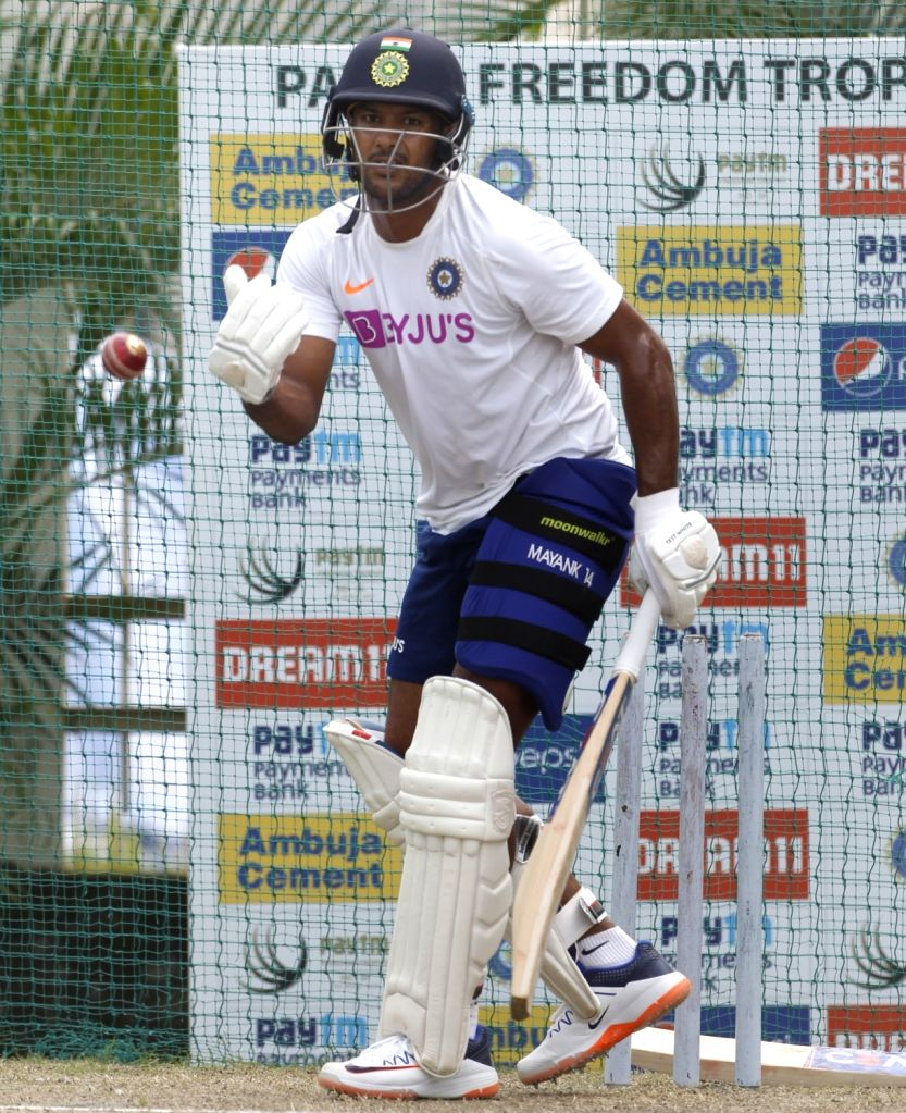 India's Mayank Agarwal during a practice session ahead of the 3rd Test match against South Africa at JSCA International Stadium in Ranchi on Oct 17, 2019.