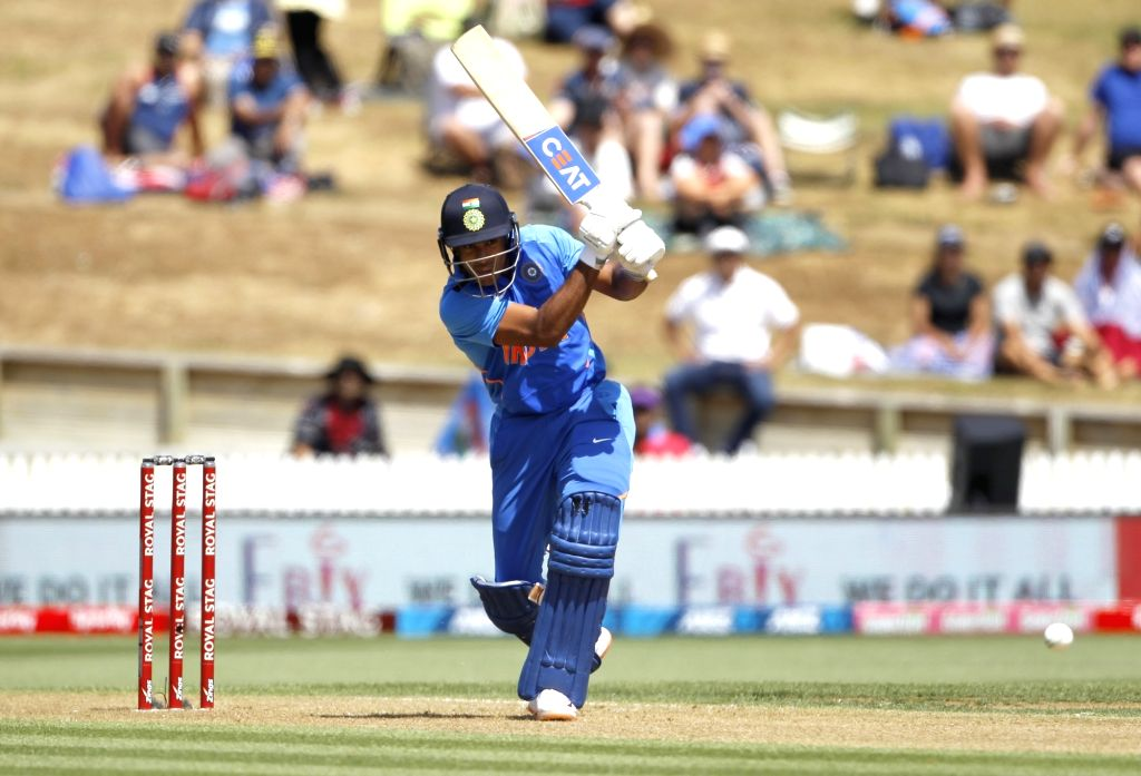 India's Mayank Agarwal in action during the 1st ODI of the three-match series between India and New Zealand at the Seddon Park in Hamilton, New Zealand on Feb 5, 2020.