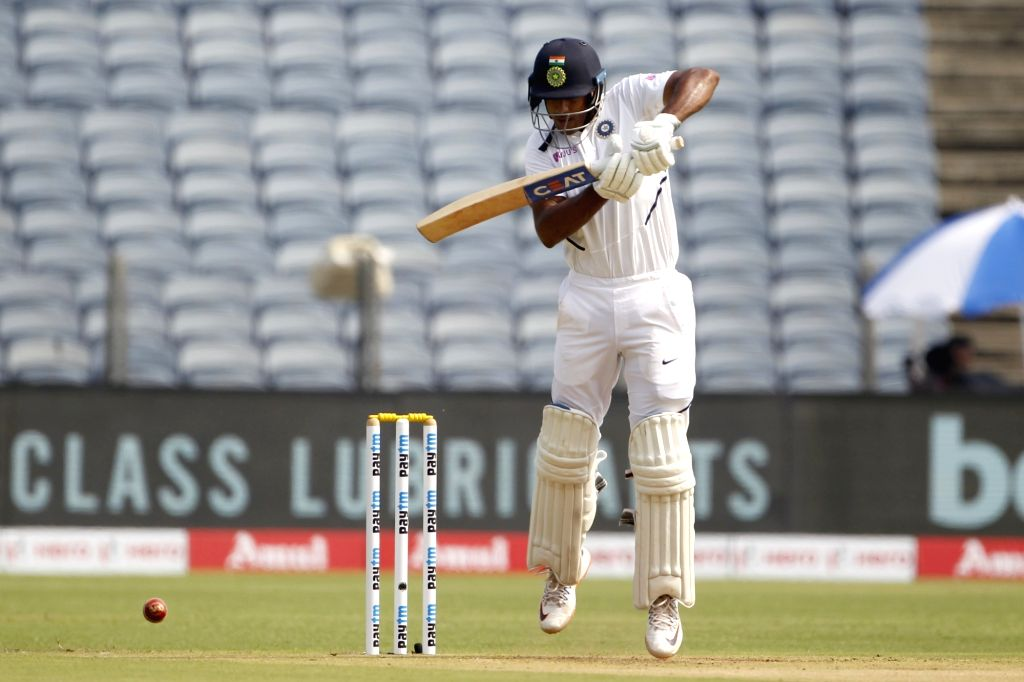 India's Mayank Agarwal in action on Day 1 of the second Test match between India and South Africa at Maharashtra Cricket Association Stadium in Pune, on Oct 10, 2019.