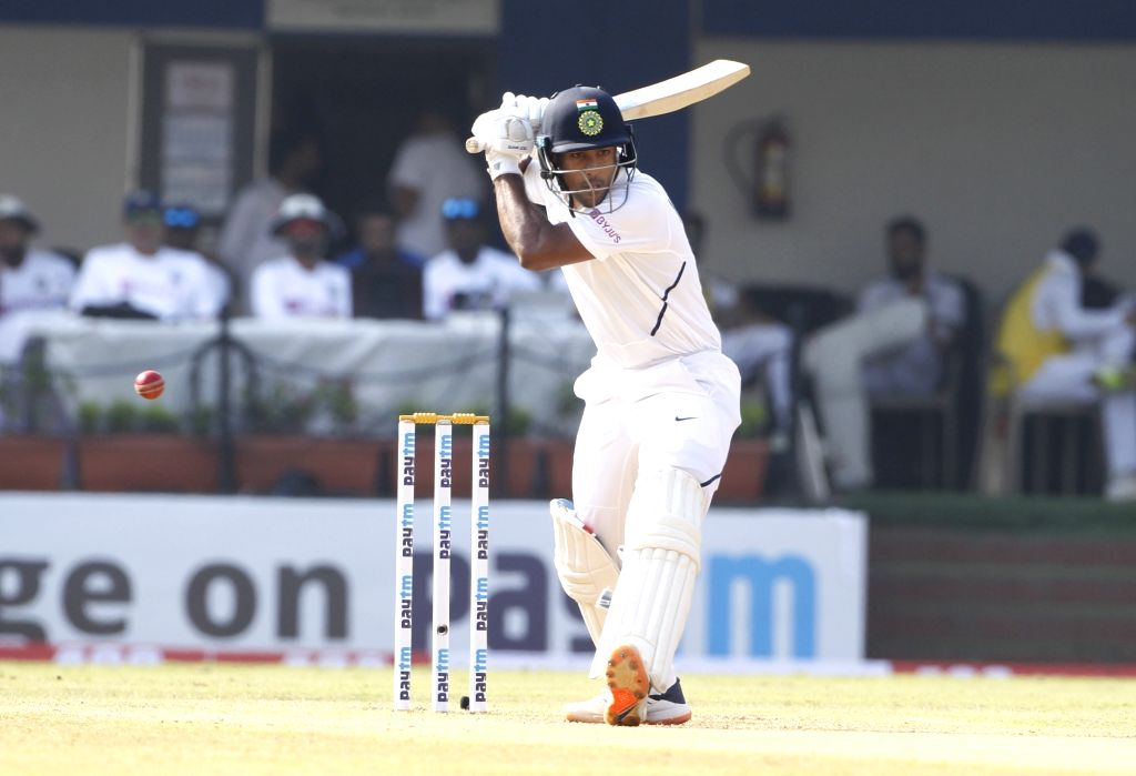 India's Mayank Agarwal in action on Day 2 of the 1st Test match between India and Bangladesh at Holkar Cricket Stadium in Indore, Madhya Pradesh on Nov 15, 2019.