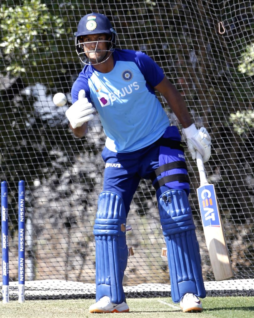 India's Mayank Agrawal during a practice session ahead of the 3rd ODI against New Zealand, at the Bay Oval in Tauranga, New Zealand on Feb 10, 2020.