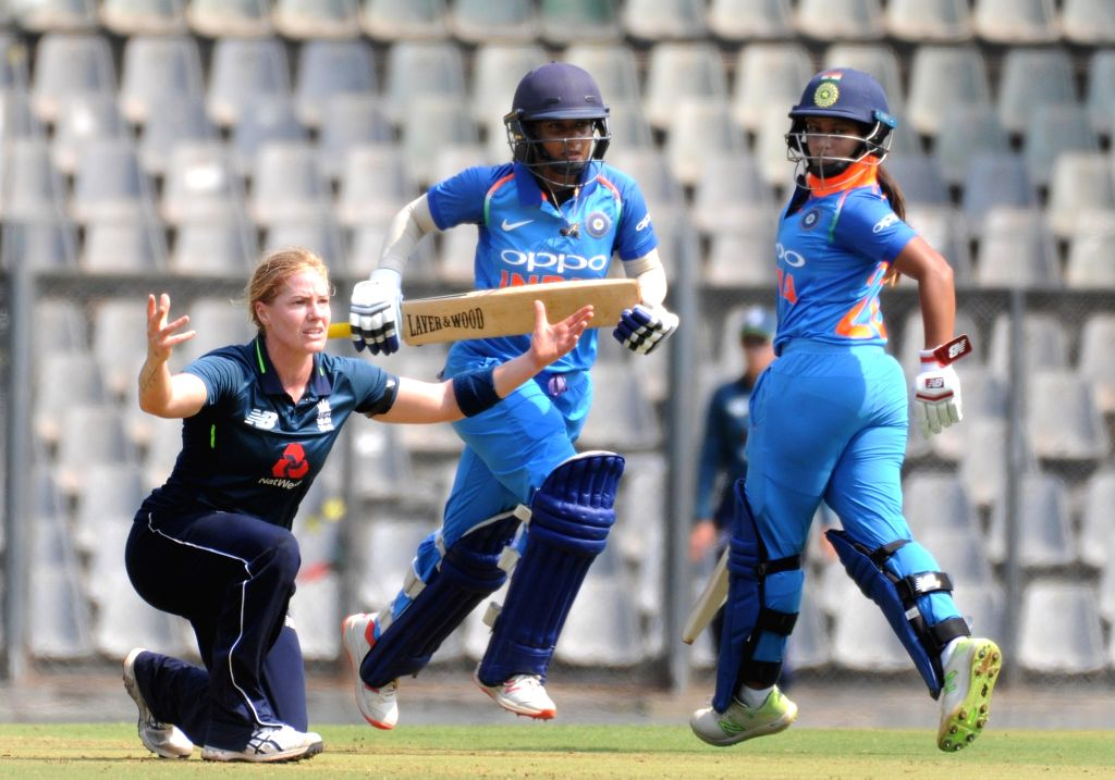 India's Mithali Raj and Jemimah Rodrigues in action during the 1st ODI match of ICC Women's Championship between India and England at Wankhede Stadium in Mumbai, on Feb 22, 2019.