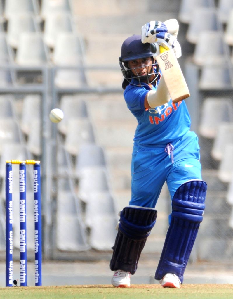 India's Mithali Raj in action during the 1st ODI match of ICC Women's Championship between India and England at Wankhede Stadium in Mumbai, on Feb 22, 2019.