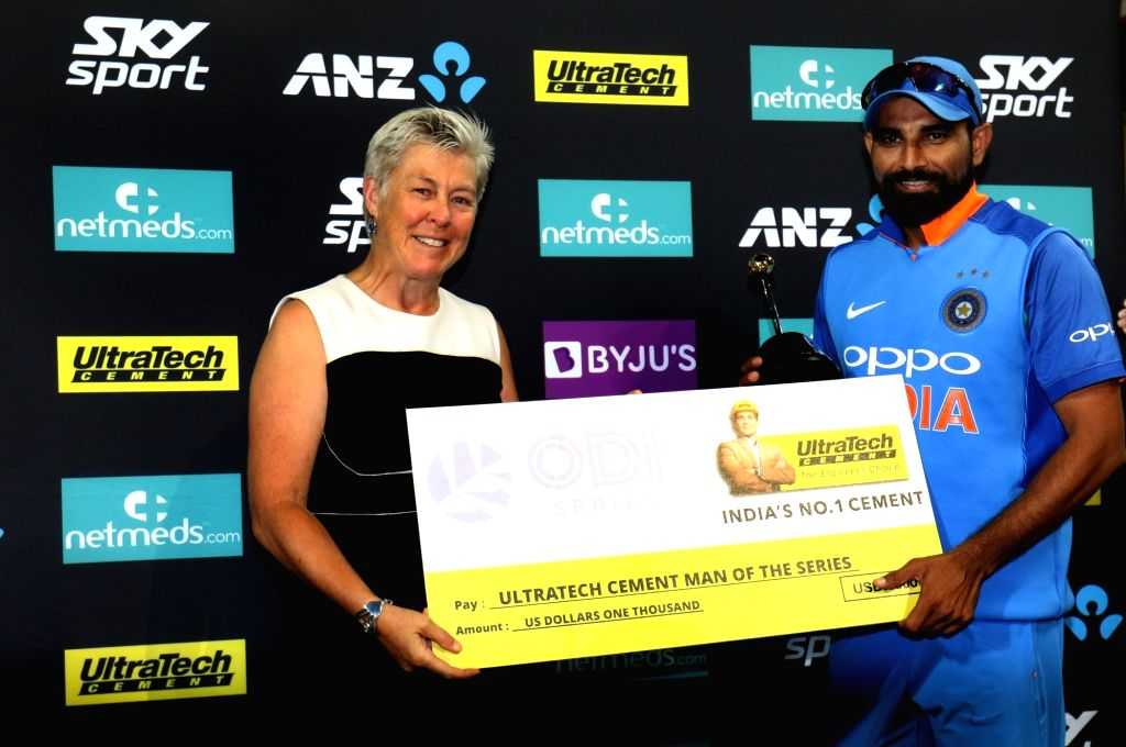 India's Mohammed Shami being awarded 'Man of the Series' during a post match felicitation ceremony at Westpac Stadium in Wellington, New Zealand on Feb 3, 2019.  India notched-up a 35-run ...