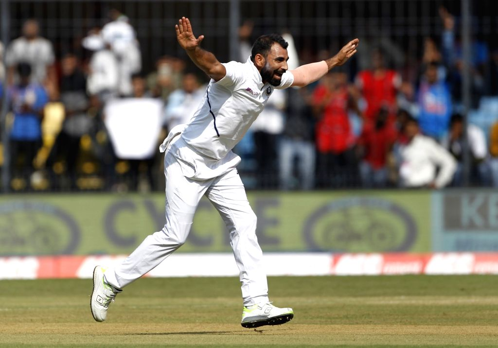 India's Mohammed Shami celebrates fall of a wicket on Day 1 of the 1st Test match between India and Bangladesh at Holkar Cricket Stadium in Indore, Madhya Pradesh on Nov 14, 2019.