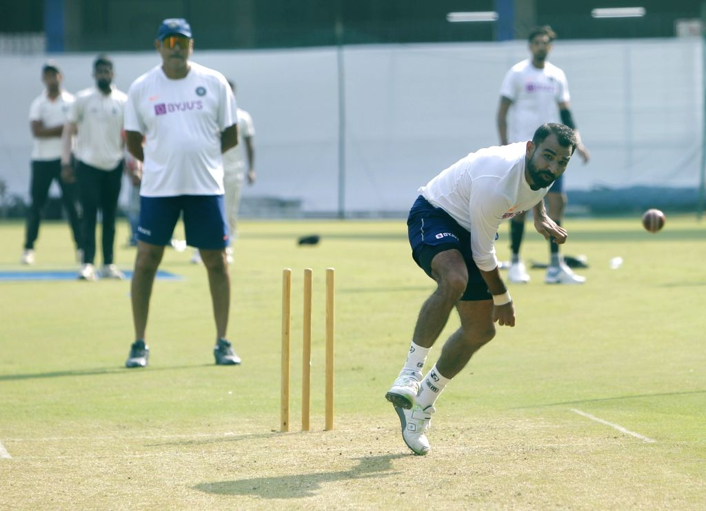 India's Mohammed Shami during a practice session ahead of the 1st Test match against Bangladesh, at Holkar Cricket Stadium in Indore, Madhya Pradesh on Nov 12, 2019.