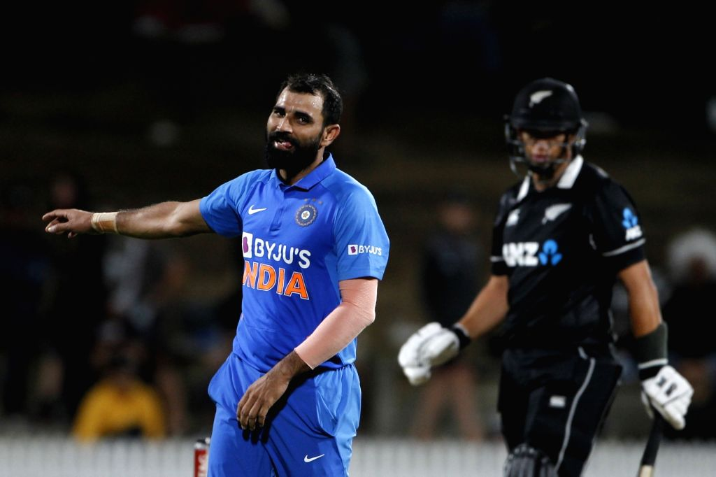 India's Mohammed Shami during the 1st ODI of the three-match series between India and New Zealand at the Seddon Park in Hamilton, New Zealand on Feb 5, 2020.