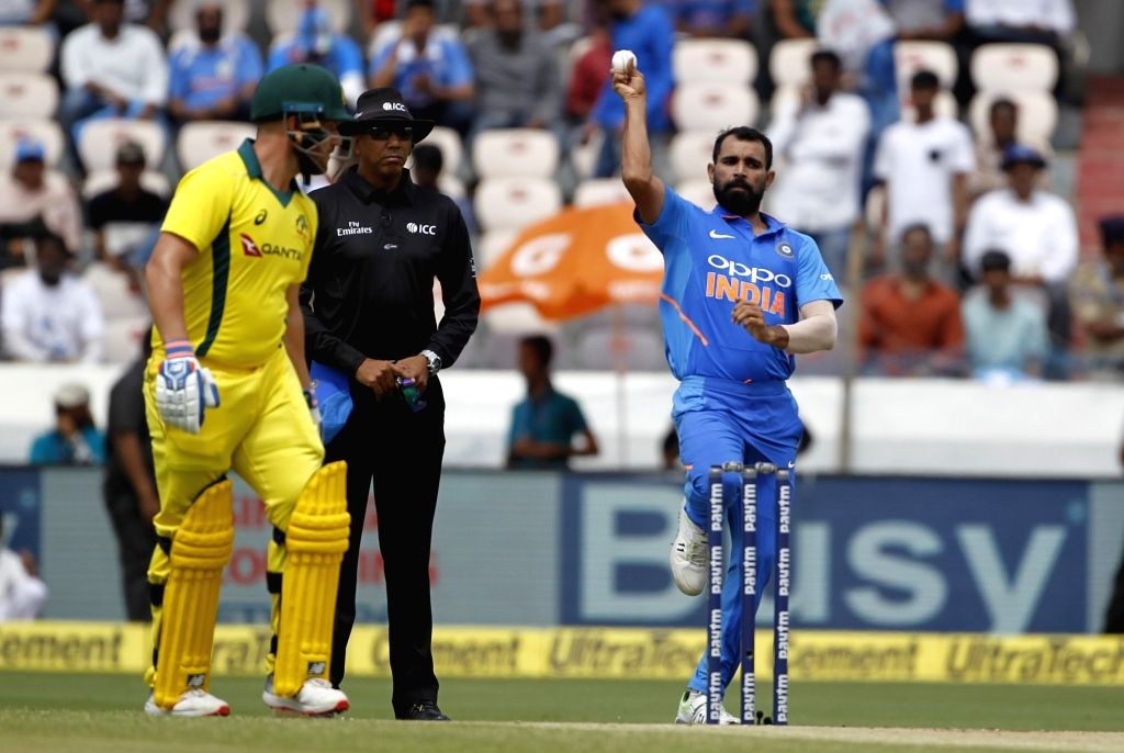 India's Mohammed Shami in action during the first ODI match between India and Australia at Rajiv Gandhi International Stadium in Hyderabad on March 2, 2019.