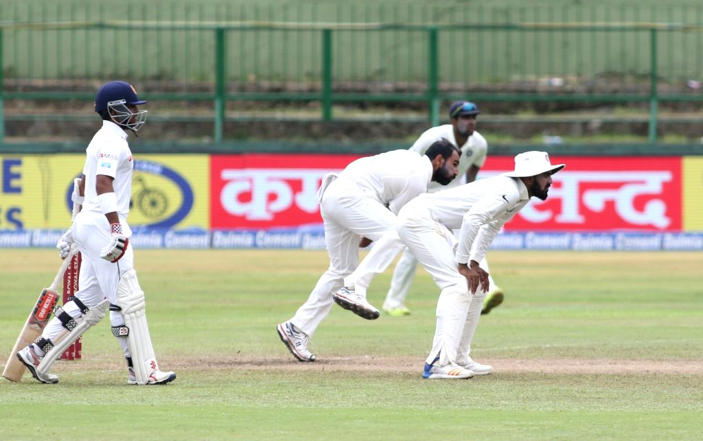 India's Mohammed Shami in action on Day 3 of the third test match between India and Sri Lanka at Pallekele International Cricket Stadium in Pallekele, Sri Lanka on Aug 14, 2017.