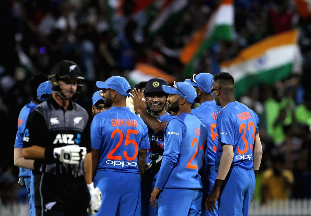 India's MS Dhoni celebrates fall of Tim Seifert's wicket during the third T20I match between India and New Zealand at Seddon Park in Hamilton, New Zealand on Feb 10, 2019. - MS Dhoni