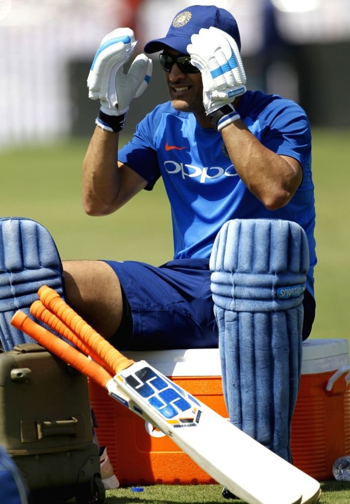 India's MS Dhoni during a practice session ahead of the third ODI match against Australia, in Ranchi, on March 7, 2019. - MS Dhoni