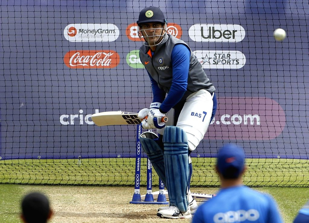 India's MS Dhoni during a practice session ahead of their 2019 ICC Cricket World Cup match against Australia, at the Oval in London on June 8, 2019. - MS Dhoni
