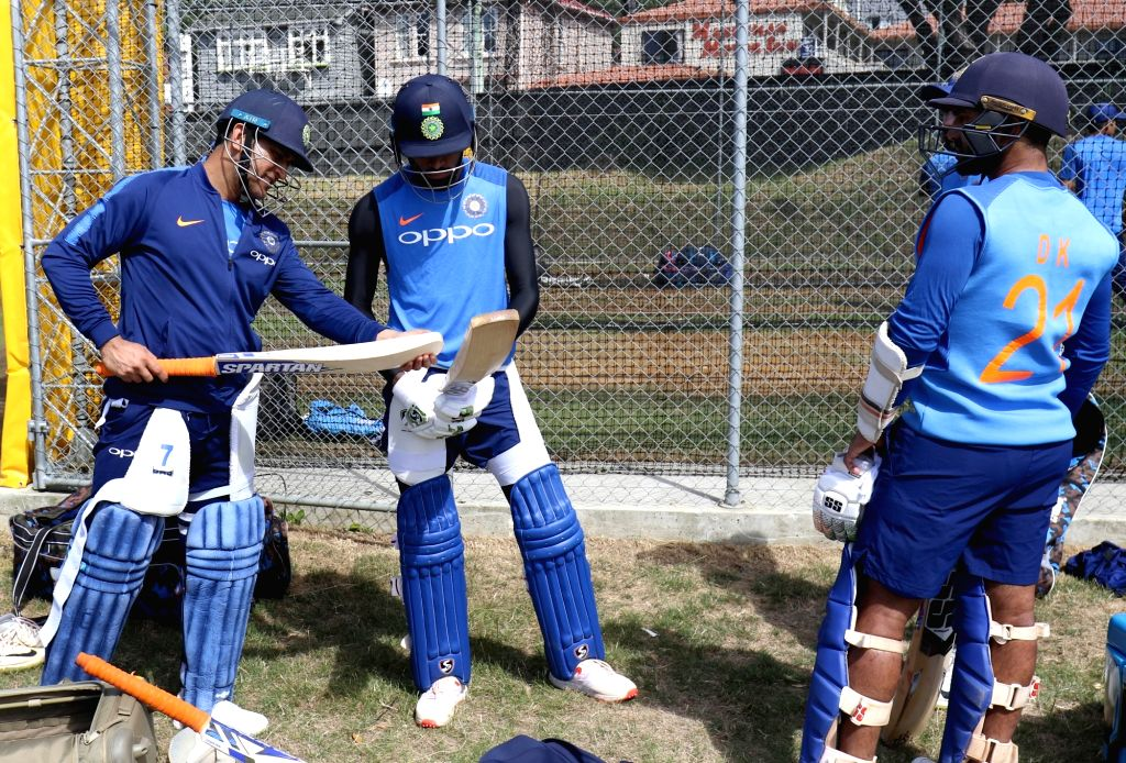 India's MS Dhoni during a practice session at Basin Reserve cricket stadium in Wellington, New Zealand on Feb. 2, 2019. - MS Dhoni