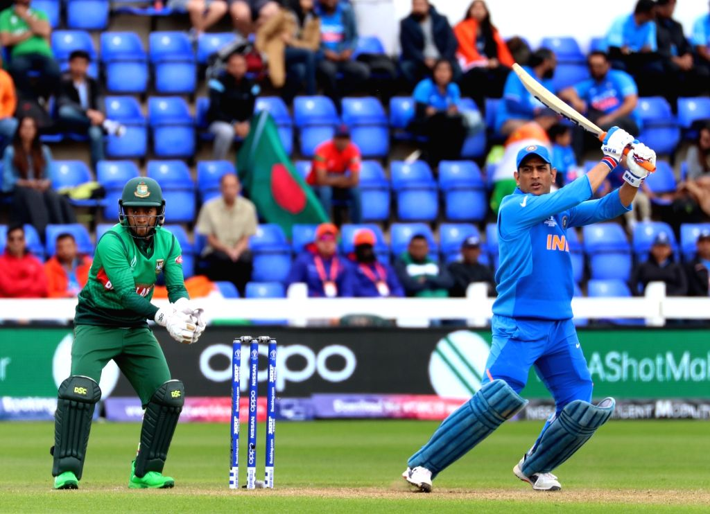 India's MS Dhoni in action during the second warm-up match between India and Bangladesh at the Sophia Gardens in Cardiff, Wales on May 28, 2019. - MS Dhoni