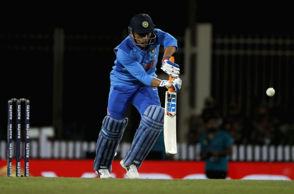 India's MS Dhoni in action during the third ODI match between India and Australia at JSCA International Stadium Complex in Ranchi on March 8, 2019. (Photo: Surjeet Yadav/IANS) - MS Dhoni and Surjeet Yadav