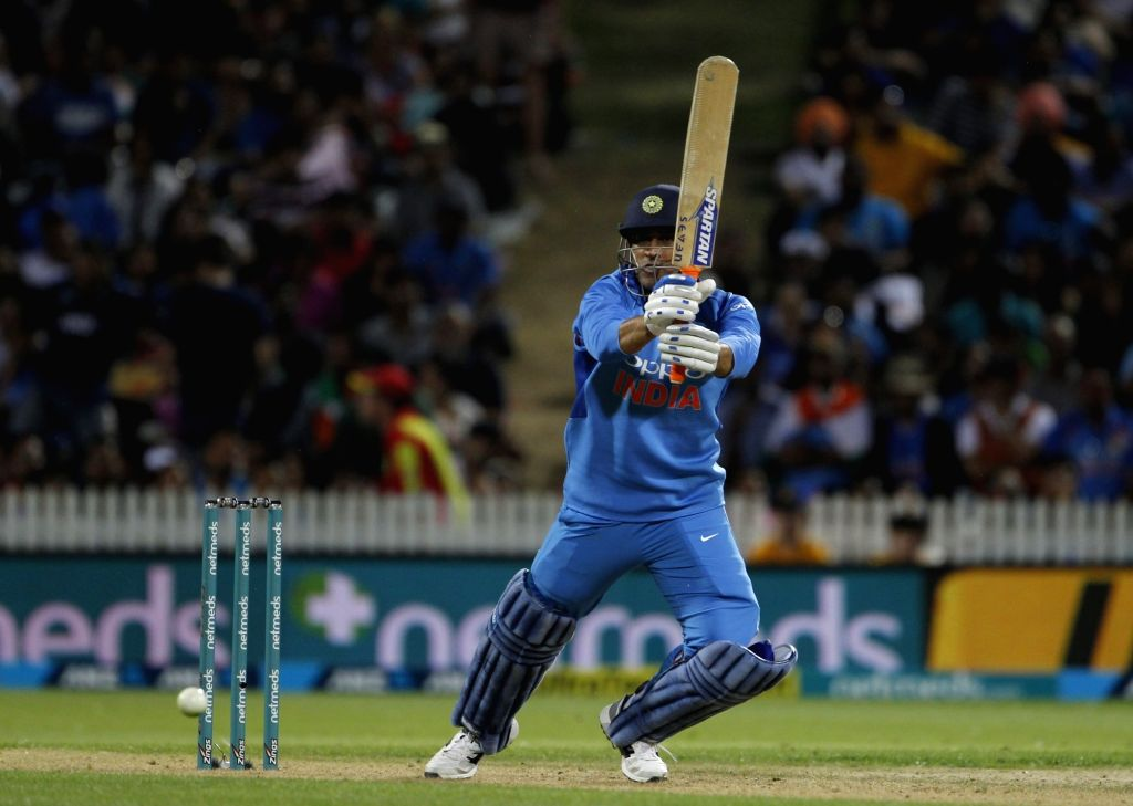 India's MS Dhoni in action during the third T20I match between India and New Zealand at Seddon Park in Hamilton, New Zealand on Feb 10, 2019. - MS Dhoni