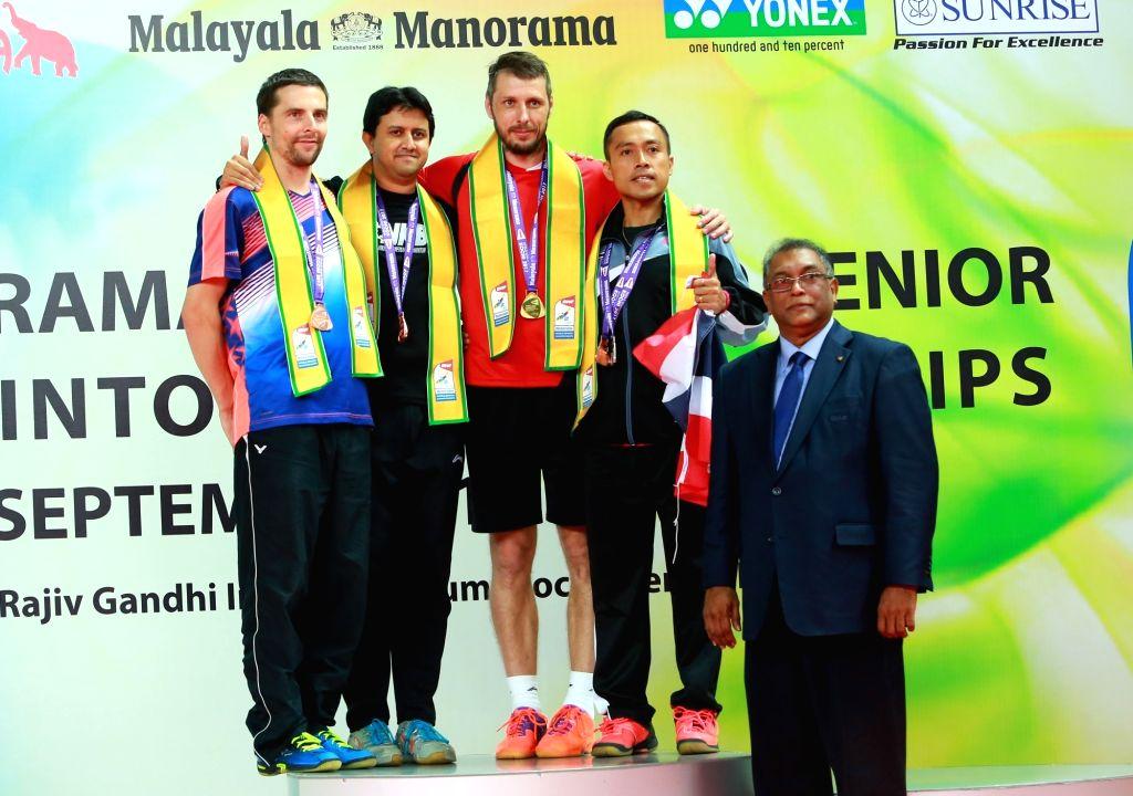 India's Nikhil Kanetkar who won a bronze medal at the podium during World Senior Badminton Championships 2017 at the Rajiv Gandhi Indoor Stadium in Kochi on Sept 17, 2017.