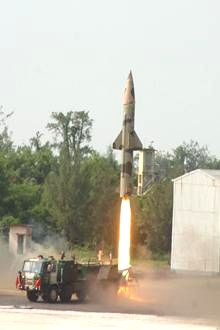 India`s nuclear capable missile Prithvi-II missile being launched from the Integrated Test Range at Chandipur-on-sea in Balasore, Odisha on Jan.7, 2014. The missile having maximum range of 350 km and capability of  carrying warheads of upto 1000 kgs